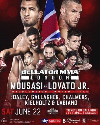 2019年6月23日Bellator223伦敦站 - 直播[视频] Mousasi vs. Lovato Jr.